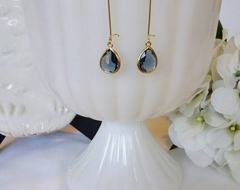 Sapphire Blue Earrings, Sapphire Blue and Gold Earrings, Bridesmaid Earrings, Bridesmaid Gift, Wedding Jewelry, Gift Idea