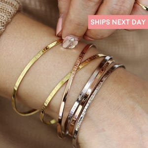 Personalized Cuff Bracelet Friendship Bracelet Coordinate Bracelet Teacher Gifts Mantra Bracelet Bangle Bracelet Graduation Gift - DFBR