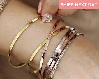 Personalized Cuff Bracelet Friendship Bracelet Inspirational Bracelet Teacher Gifts Custom Mantra Bracelet Custom Bangle Bracelet - DFBR