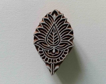 Indian Wood Stamp - Wood Block Printing - Hand Carved - India - Flower Leaf Pattern Small - #4
