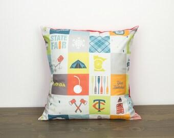 "Pillow cover - Minnesota - 16""x16"" - patchwork - MN - modern - handmade - accent pillow - throw pillow - red - blue - yellow - grey - orange"