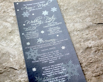 Frosty Winter Snowflakes Card Style Wedding Program