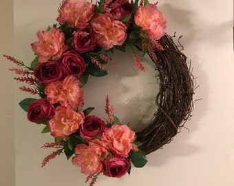 Spring Wreath, Peony and Rose Wreath, Grapevine Wreath, Summer Wreath, Floral Wreath