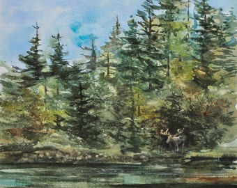 Out of the Woods, Watercolor Print, Woods, Maine, Moose Pond, Lake, Forest