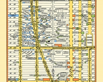 New York 1940s Map Poster Vintage Midtown Times Square Stores Theaters Hotels Subway Macys Saks Madison Sq Grdn 5th Ave Rockefeller Center