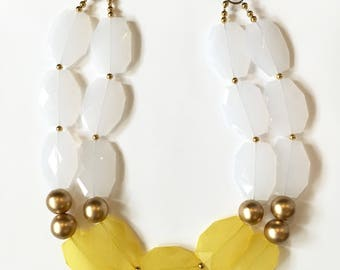 Statement Necklace - Yellow, White and Gold Necklace - Gold Statement Necklace
