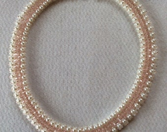 Pearl necklace with pink Swarovski crystals, wedding necklace, bridesmaids gift, with Sterling silver
