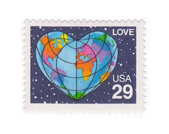 5 Unused Vintage Postage Stamps - 1991 25c Heart Globe Love - No. 2535
