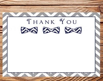 Bowtie Thank You Card - INSTANT Download - 4x6, gray, navy, Bowtie, Chevron, Thank you, 1 PDF and 1 JPEG, 1572