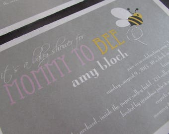 Mommy to Bee - baby shower invitation - DIY - PRINT YOURSELF or purchase prints