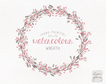 Watercolor wreath: painted floral wreath clipart / Wedding invitation clip art / Pink and grey / commercial use / CM0057b