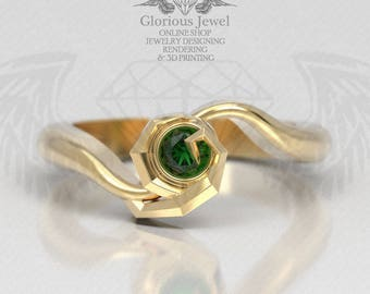 Glorious Zelda Ocarina Triforce Hyrule Warriors ring with Natural Emerald stone / 925 silver / 14K Gold / Custom made / Made to Order