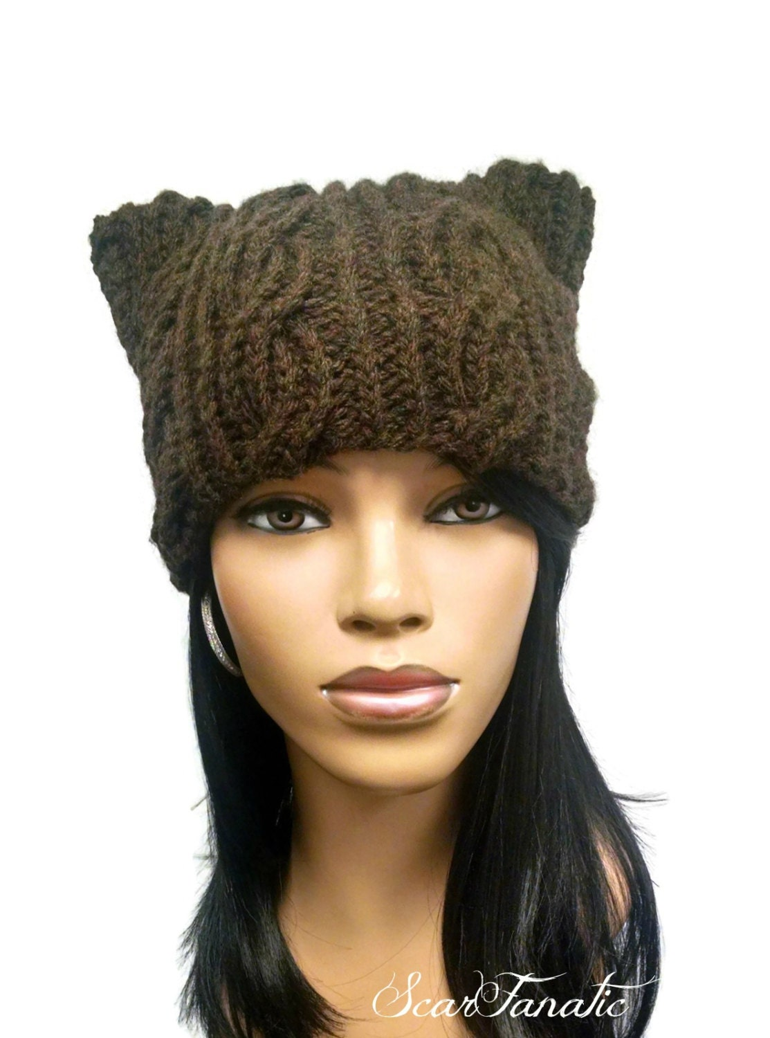 PATTERN ONLY Hand Knit Cabled Cat Ears Beanie/Hat Super easy