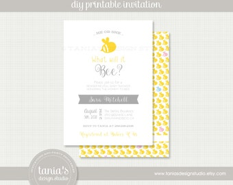 Bee Baby Brights Printable Baby Shower Invitation by tania's design studio