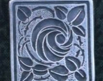 Rose in a Square Pendant in an Engraved Design.