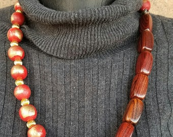 Wood Necklace and Earring Set
