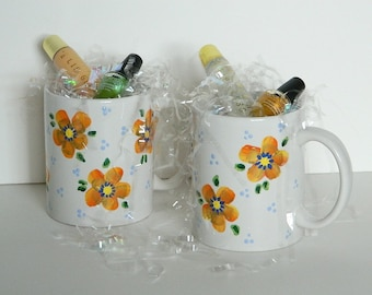 Colorful Flower Coffee Tea Mug Cup in Orange Yellow Gold Accents Hand Painted