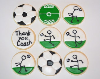 SOCCER THEME assorted decorated cookies. Banquet, birthday, party, thank you, coach, field, ball, circle