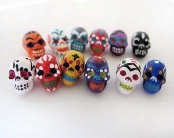 20 Tiny Sugar Skull Beads - ceramic, day of the dead, peruvian, halloween - CB865