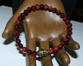 Buddha Reddish/Black Beads Unisex Bracelet