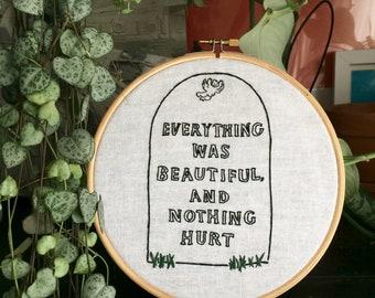 Kurt Vonnegut gravestone / everything was beautiful wall hanging decor embroidery