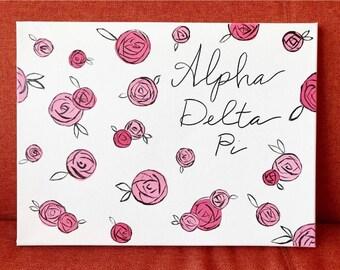 Rose Design Sorority Canvas Sign