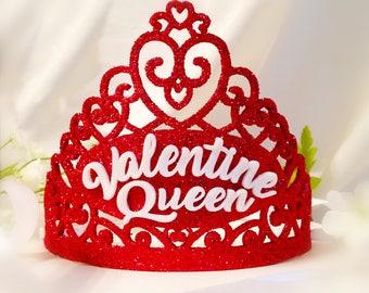 Valentine Queen Crown - Valentine Tiara - Valentine Crown - Glittered Valentine Crown - Gift for Her - Valentine Gift - Photo Prop Crown