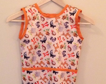 Woodland Creatures Waterproof Child's Cobbler Apron; Size 2T and 4T