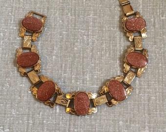 Vintage Lucite Confetti Linked Bracelet