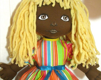 Handmade black cloth doll 19 inches.