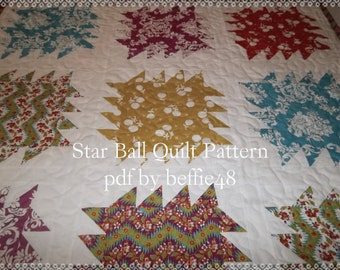 Star Balls Baby or Lap Quilt Pattern Tutorial, pdf