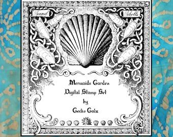 Mermaids Garden Digital stamps