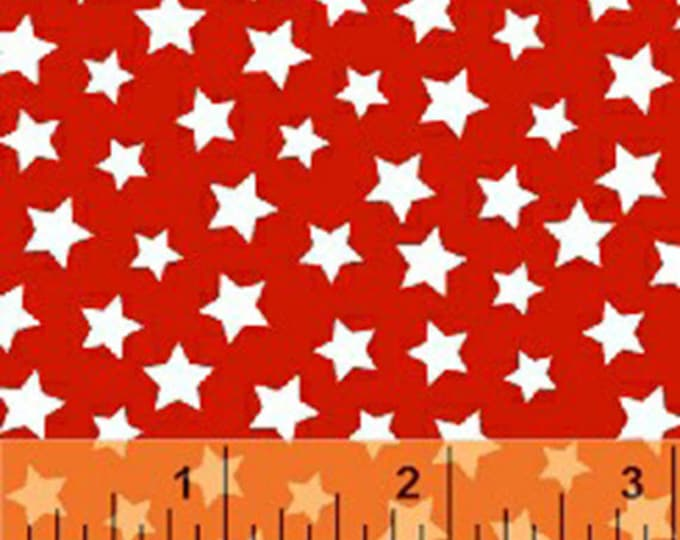 Windham Basic Brights - Stars in White on Red - American Bright Basics Cotton Quilt Fabric Star - Windham Fabrics - 31641-6 (W3647)