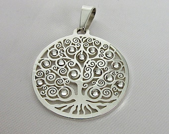 Pendant, Tree of life, necklace, stainless steel, silver, crystals, World Tree, mysticism, Celtic, symbol, spiritual,