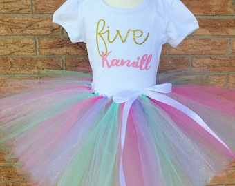 Girl's Fifth birthday outfit, 5th birthday shirt, 5 year old girls birthday outfit, unicorn party, girls 5th birthday