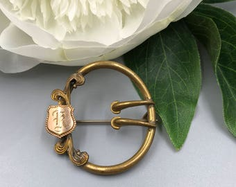 Victorian Sash Pin, Victorian Brooch, Buckle Brooch, Double Prong, Monogrammed Old English K, Antique Brooch, Hand Engraved Sash Pin
