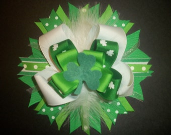 Over the top St. Patrick's day boutique bow with free headband