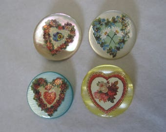 Studio hand decorated buttons.In time for a Valentine's Day Gift