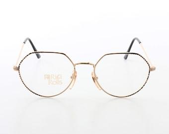 Vintage 1980s round / esagonal gold metal flat brows eyeglasses frames