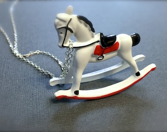 White Rocking Horse Necklace. Whimsical Childhood Toys. Miniature Horse. Holiday. Festive. Christmas. Silver Chain. Under 30 Gifts. Cute.