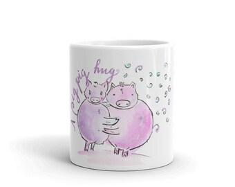 Pig pig hug Mug made in the USA