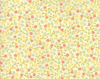 Fig Tree Fabric - Ella and Ollie Fabric Yardage - Moda Quilt Fabric - Cream Small Floral Fabric By The 1/2 Yard