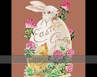 Instant Digital Download, Antique Edwardian Graphic, Easter Greeting Bunny & Chick, Large Decorated Egg, Vintage Printable, Clovers