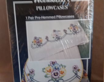 WonderArt pre-hemmed pillowcases one pair Pansy Delight 20x30 sealed