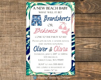 Boardshorts or Bikinis Gender Reveal Baby Shower Invitation