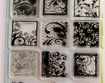 FLOURISHES Clear Acrylic Stamp Set by Inkadinkado Stamps with Flourish Blocks