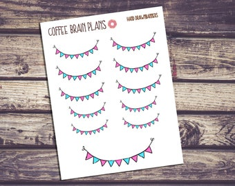 Blue and Pink Banner Hand Drawn Stickers