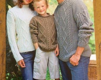 Sirdar Aran Family Jumper Knitting Pattern - 8486