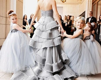 Flower Girl Dress, Floor Length,  Seen on Martha Stewart Weddings, Tulle Flower Girl Dress, Princess Dress, Wedding Dress, Tulle Tutu Dress