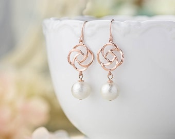 Rose Gold White Cotton Pearls Earrings, Bridal Earrings, Rose Gold Jewelry, Wedding Pearl Jewelry, Bridesmaid Gift, Light Weight